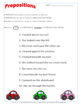 Prepositions Worksheet and Exit Ticket