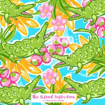 Preppy Alligator Design on Turquoise  - Digital Paper