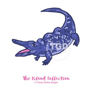 Preppy Alligator Navy clip art - Tracey Gurley Designs