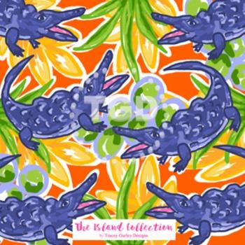 Preppy Alligator digital paper Navy and Orange - Original Art download