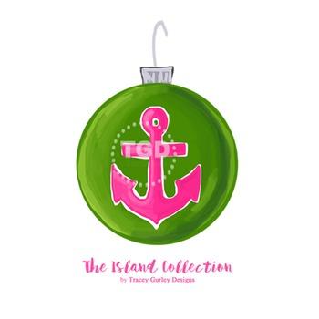 Preppy Anchor Christmas Ornament Clip Art Printable Tracey Gurley Designs