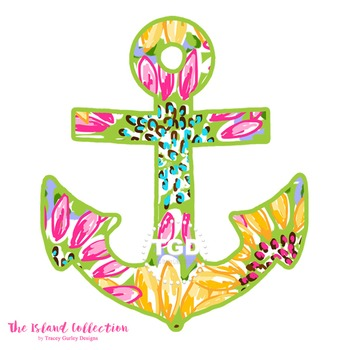Preppy Anchor Clip Art with sunflower design  Tracey Gurle