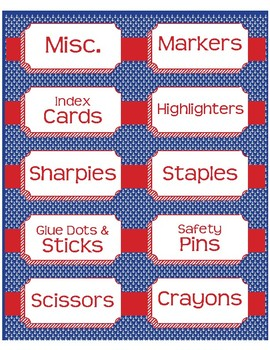 """Supplies Drawer Labels in Preppy Anchor theme - 4""""x2"""""""
