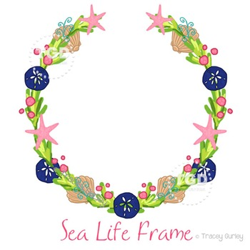 Preppy Beach Frame - sea life wreath Printable Tracey Gurley Designs