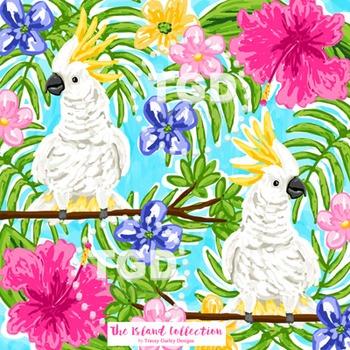 Preppy Cockatoo digital paper Printable Tracey Gurley Designs