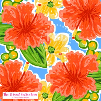 Preppy Coral Hibiscus digital paper - Original Art download, hibiscus design