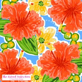 Preppy Coral Hibiscus digital paper - Original Art downloa