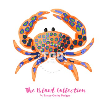 Preppy Crab clip art - Tracey Gurley Designs