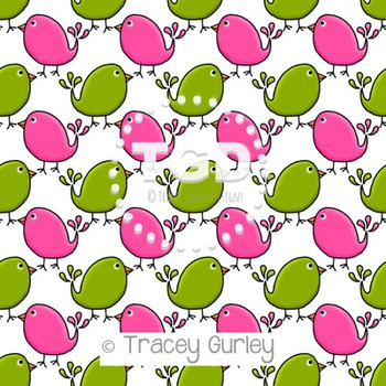 Preppy Cute Birds Pink and Green digital paper Printable Tracey Gurley Designs