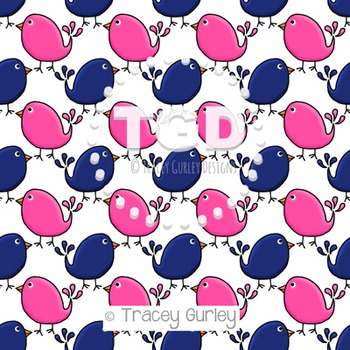 Preppy Cute Birds Pink and Navy digital paper Printable Tracey Gurley Designs