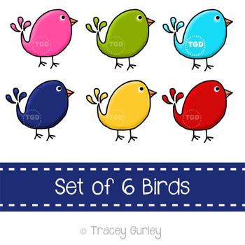 Preppy Cute Birds, set of 6 - bird clip art Printable Tracey Gurley Designs