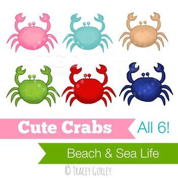 Preppy Cute Crabs, set of 6 - crab clip art Printable Trac