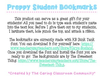 Preppy Editable Student Bookmarks