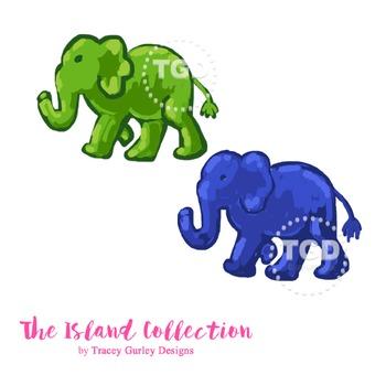 Preppy Elephant clip art, navy elephant and green elephant Tracey Gurley Designs