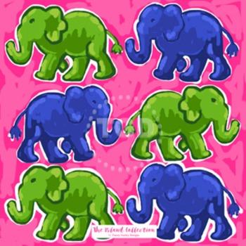 Preppy Elephants digital paper pink, navy, and green - Original Art download