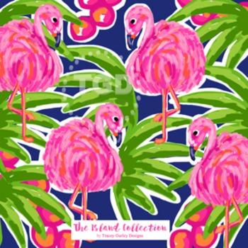 Preppy Flamingo digital paper pink, orange, navy, green - Original Art download