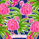 Preppy Flamingo digital paper pink, orange, navy, green -