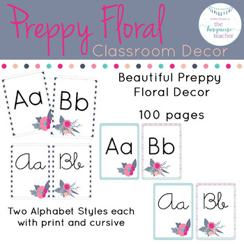 Preppy Floral Rustic Classroom Decor Alphabet ONLY