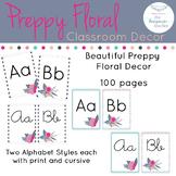 Preppy Floral Rustic Classroom Decor Alphabet ONLY