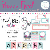 Preppy Floral Rustic Classroom Decor Theme Fully Editable