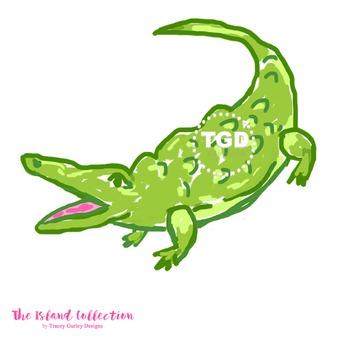 Preppy Green Alligator Clip Art - Tracey Gurley Designs
