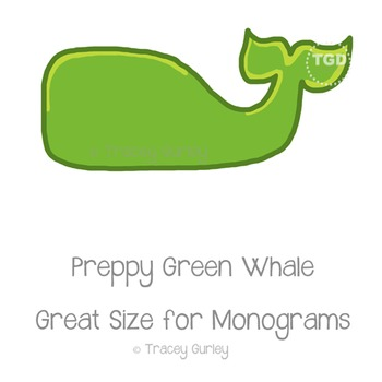 Preppy Green Whale - green whale clip art Printable Tracey Gurley Designs