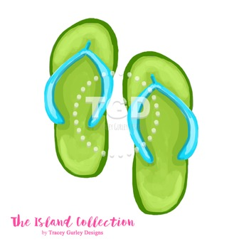 Preppy Green and Turquoise Flip Flop Clip Art - Tracey Gurley Designs