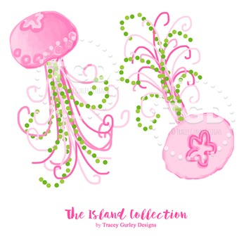 Preppy Jellyfish clip art - Tracey Gurley Designs