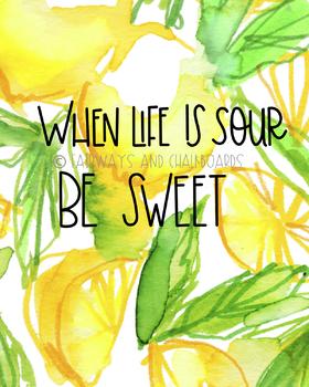 Preppy Lemon Themed Hand Lettered Prints