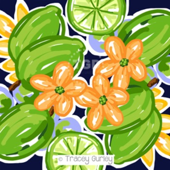 Preppy Limes, navy, orange, kelly green digital paper - Original Art download