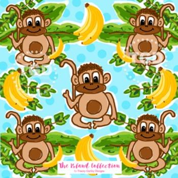 Preppy Monkey Banana digital paper Printable Tracey Gurley