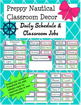 Preppy Nautical Classroom Theme Classroom Jobs and Daily Schedule Cards