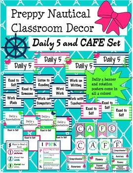 Preppy Nautical Classroom Theme Daily 5 and CAFE Set