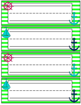 Preppy Nautical Classroom Theme Desk Name Plates