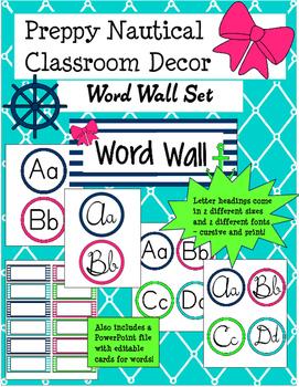 Preppy Nautical Classroom Theme Word Wall Set