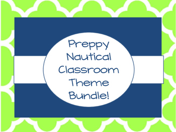 Preppy Nautical Themed Classroom Bundle!