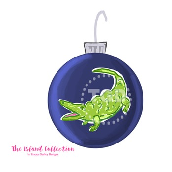 Preppy Navy Christmas Ornament Clip Art Printable Tracey G