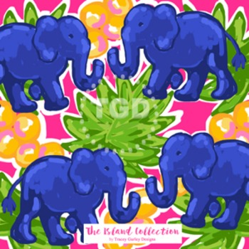 Preppy Navy Elephants digital paper - Original Art downloa