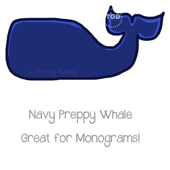 Preppy Navy Whale - Navy whale clip art Printable Tracey Gurley Designs
