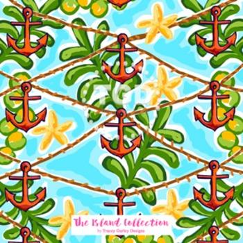 Preppy Orange Anchors digital paper - Original Art download
