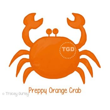 Preppy Orange Crab Printable Tracey Gurley Designs