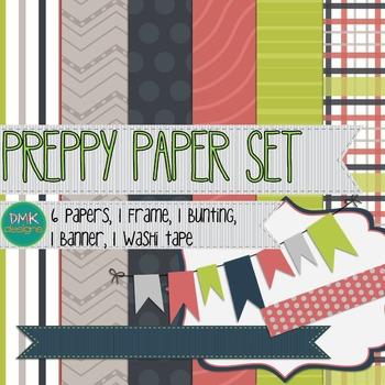 Digital Paper and Frame Set- Preppy