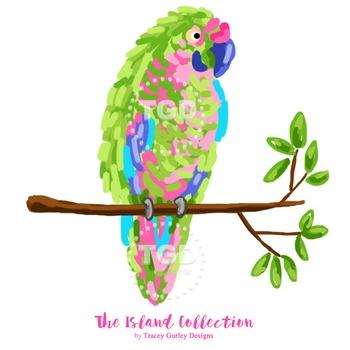 Preppy Parrot Clip Art - parrot clip art Printable Tracey Gurley Designs