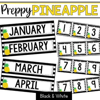 Preppy Pineapples: Editable Classroom Signs & Labels: Black and White