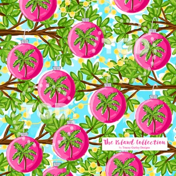 Preppy Pink Christmas Ornament digital paper Printable Tracey Gurley Designs