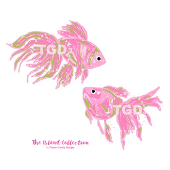 Preppy Pink Fish clip art - cute fish clip art Printable Tracey Gurley Designs