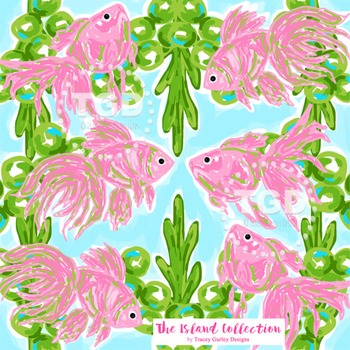 Preppy Pink Fish digital paper - Pink fish Printable Tracey Gurley Designs