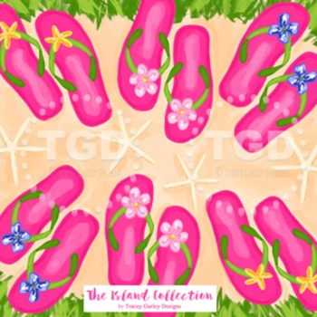 Preppy Pink Flip Flop Design - Original Art Printable