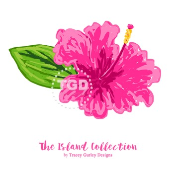 Preppy Pink Hibiscus clip art - Tracey Gurley Designs