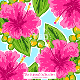 Preppy Pink Hibiscus digital paper - Original Art Printable